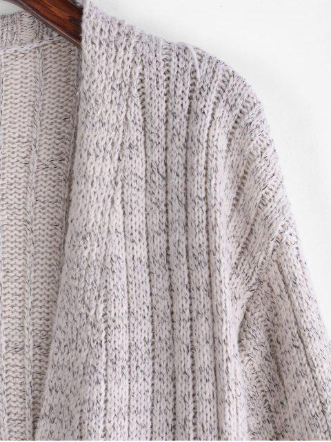shop Longline Heathered Open Front Cardigan - GRAY GOOSE ONE SIZE Mobile