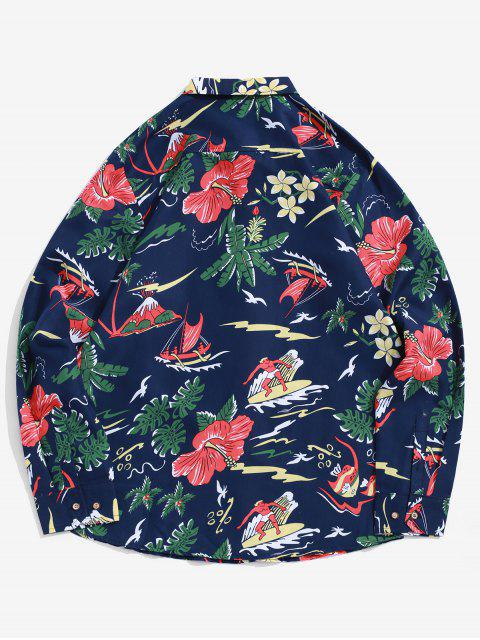 new Leaf Flower Fish Surfing Print Button Up Vacation Shirt - CADETBLUE 2XL Mobile