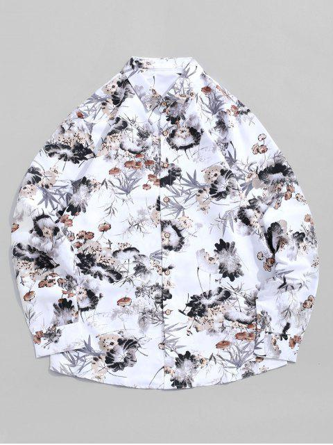chic Chinese Ink Painting Print Long Sleeve Vacation Shirt - WHITE 2XL Mobile