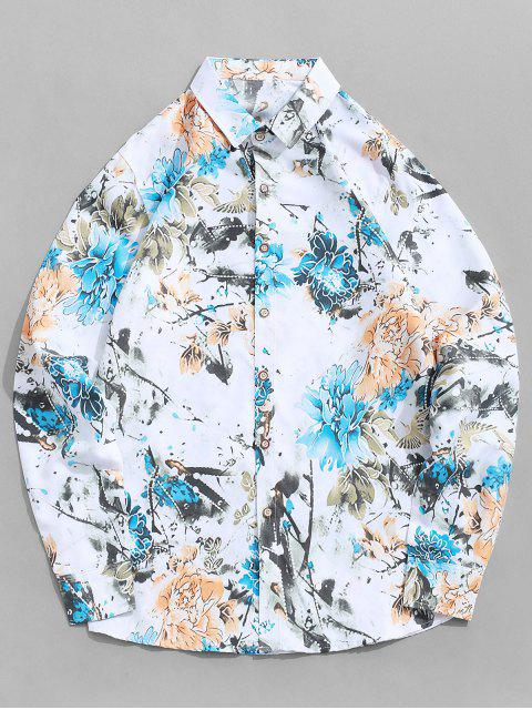 shops Long Sleeve Flower Painting Print Vacation Shirt - WHITE 2XL Mobile