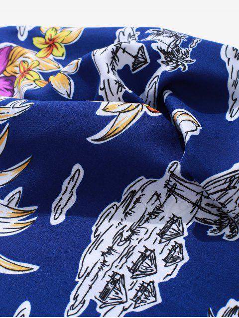 Flor de la palmera botón de impresión Hasta camisa de la playa de vacaciones - Azul 2XL Mobile