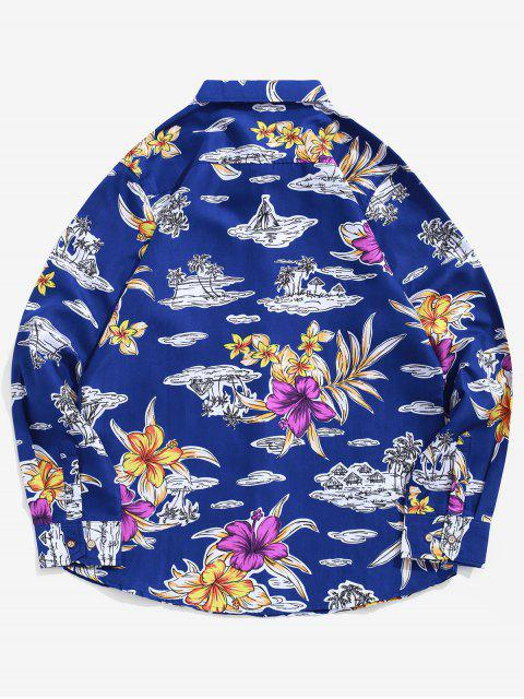 hot Flower Palm Tree Print Button Up Beach Vacation Shirt - BLUE M Mobile