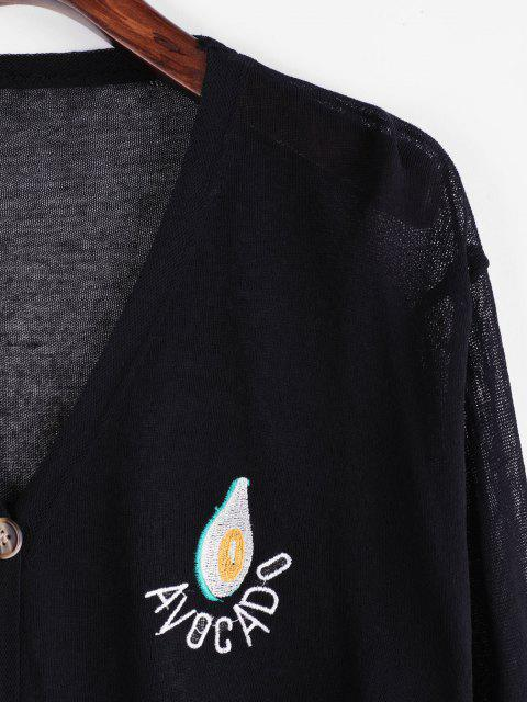 womens V Neck Vitamin Fruit Embroidered Button Up Cardigan - BLACK ONE SIZE Mobile