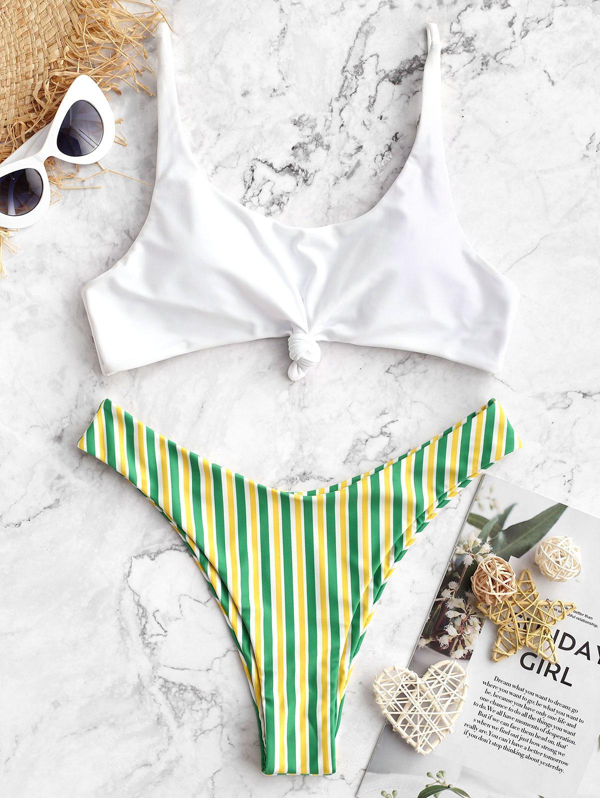 ZAFUL Brazilian Flag Print Contrast Striped Knot Bikini Set, Multi-b