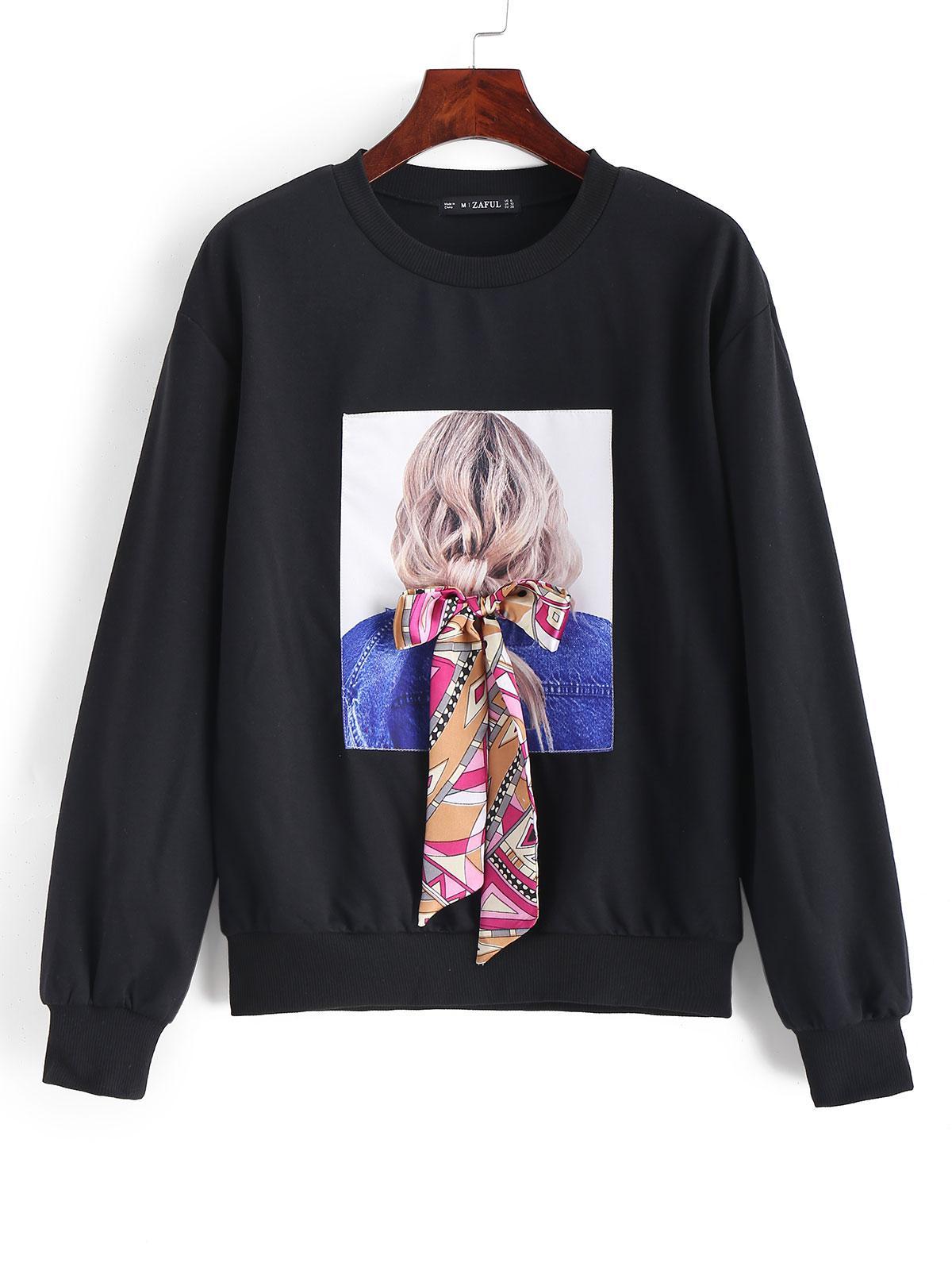 ZAFUL Bowknot Portrait Patched Drop Shoulder Sweatshirt thumbnail