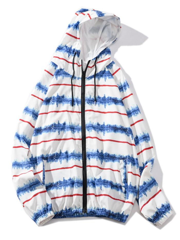 Striped Painting Print Raglan Sleeve Hooded Jacket фото