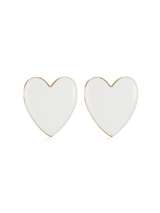 Heart Shape Romantic Stud Earrings, White
