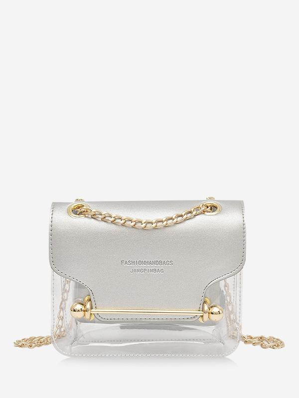 Crossbody Character Pattern Transparent Shoulder Bag, Silver