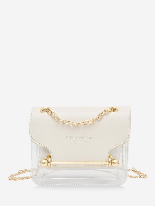 Crossbody Character Pattern Transparent Shoulder Bag, Milk white