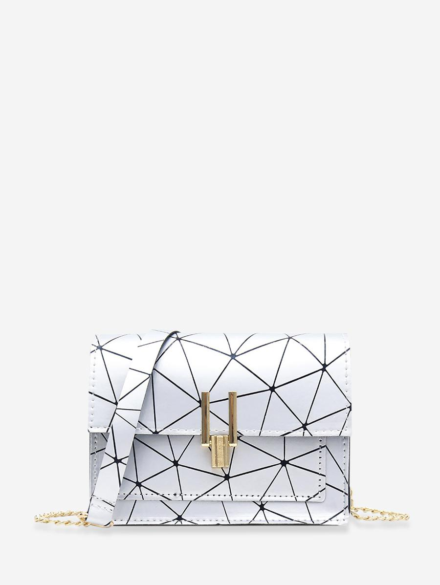Cover Chain Geometric Crossbody Bag, Silver