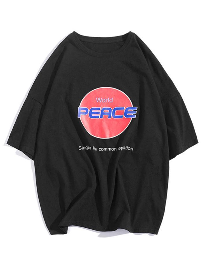 La Pace nel mondo Lettera Stampa Grafica Goccia Spalla T-shirt