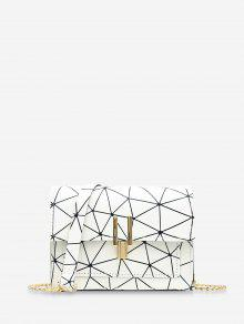 غطاء سلسلة حقيبة كروس هندسية - أبيض