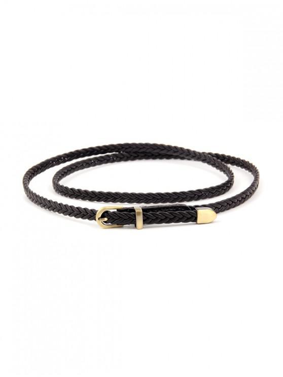 Cintura con fibbia vintage a treccia sottile - Nero