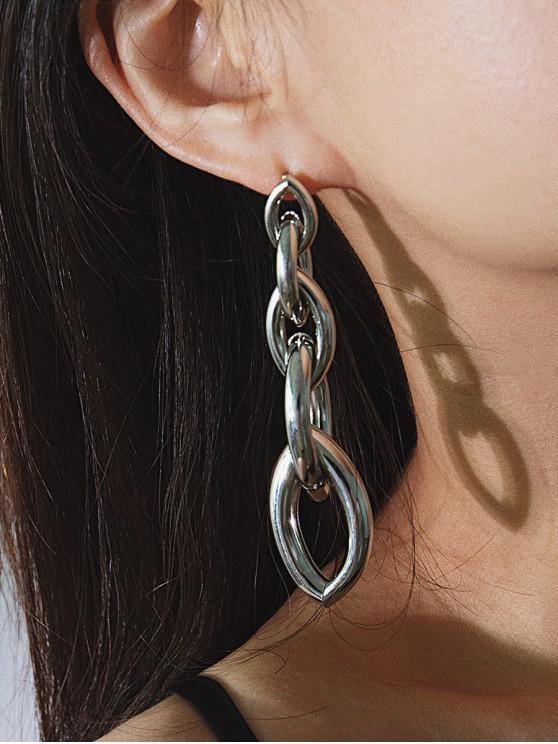 Orecchini pendenti con catenacci irregolari a catena a maglia - Argento