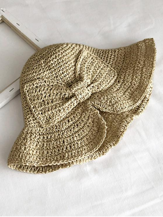 outfits Bowknot Knitted Folding Sun Hat - BEIGE