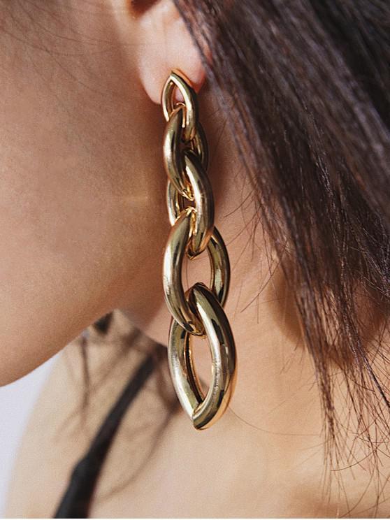 trendy Link Chain Irregular Stud Drop Earrings - GOLD