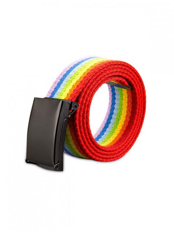 affordable Rainbow Color Knitted Striped Belt - ROSSO RED