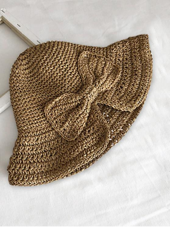 women's Bowknot Knitted Folding Sun Hat - LIGHT KHAKI