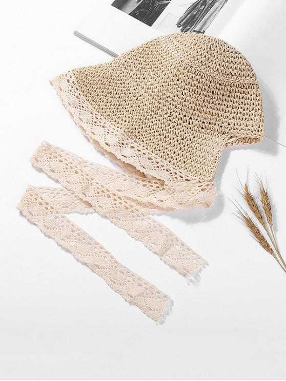 ladies Lace Ribbon Knitted Straw Sun Hat - BEIGE