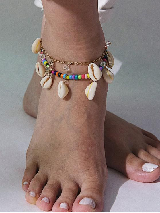 outfit Beaded Starfish Shells Charm Layered Anklet - MULTI-A