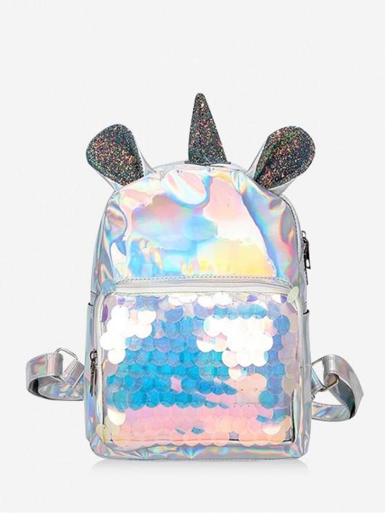Zaino design unicorno con paillettes laser - Argento