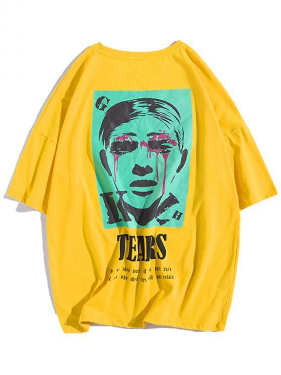 Maglietta con spalle scoperte con stampa di lettere a forma di lacrime - Giallo L