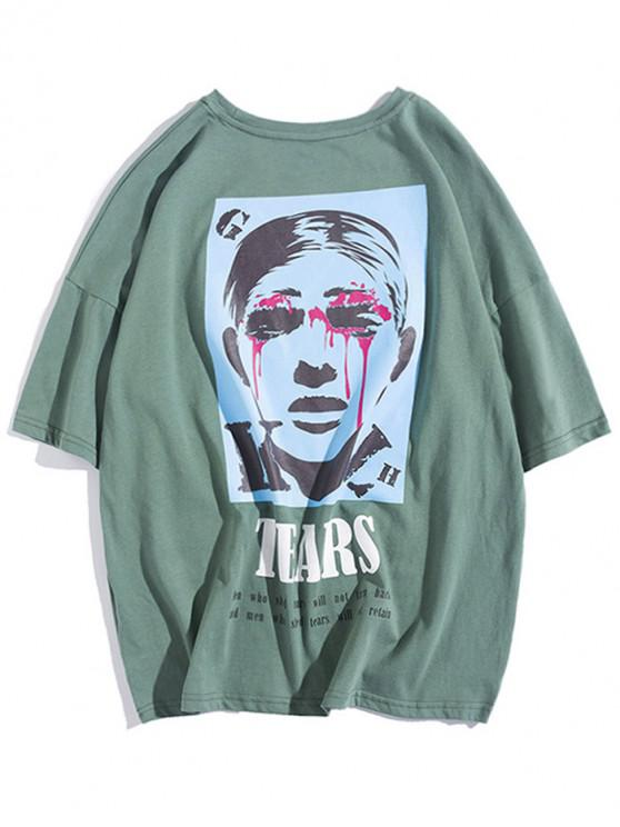 shops Tears Eyes Character Letter Print Drop Shoulder T Shirt - ARMY GREEN S