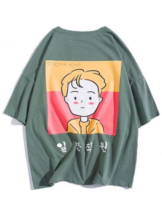 lady Cartoon Office Worker Character Print Drop Shoulder T-shirt - ARMY GREEN M