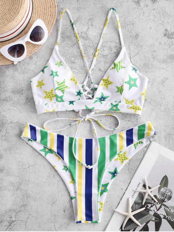 sale ZAFUL Brazilian Flag Lace-up Reversible Bikini Swimsuit - MULTI-A L