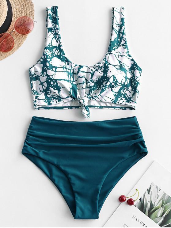 ladies ZAFUL Marble Print Knotted Tummy Control Tankini Swimwear - MULTI-C L
