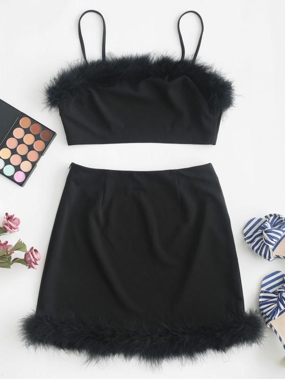 buy ZAFUL Feather Trim Crop Cami Two Pieces Suit - BLACK L