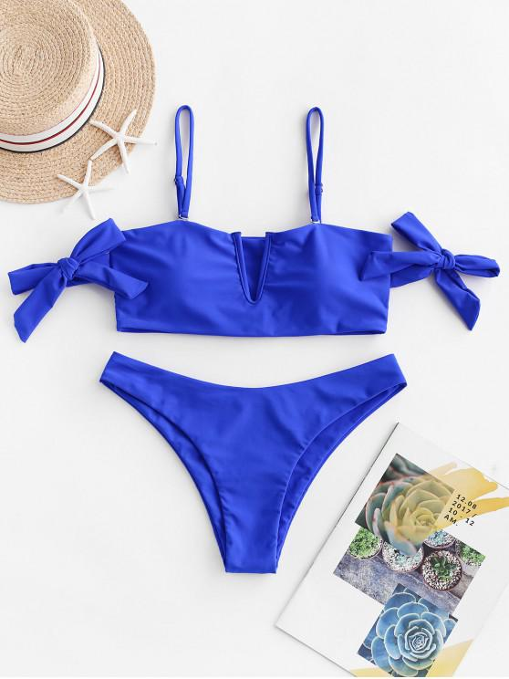 women ZAFUL V-wired Tie Off The Shoulder Bikini Swimsuit - COBALT BLUE M