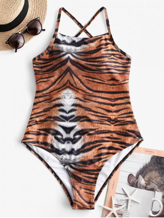 ZAFUL Tiger Imprimir Crisscross Lace-up Swimsuit de uma peça - Cor de Laranja de Tigre XL