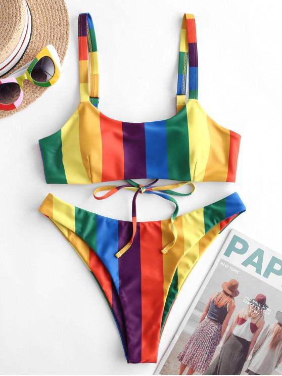 Bañador de bikini de pierna alta con rayas de arcoíris ZAFUL - Multicolor-A L
