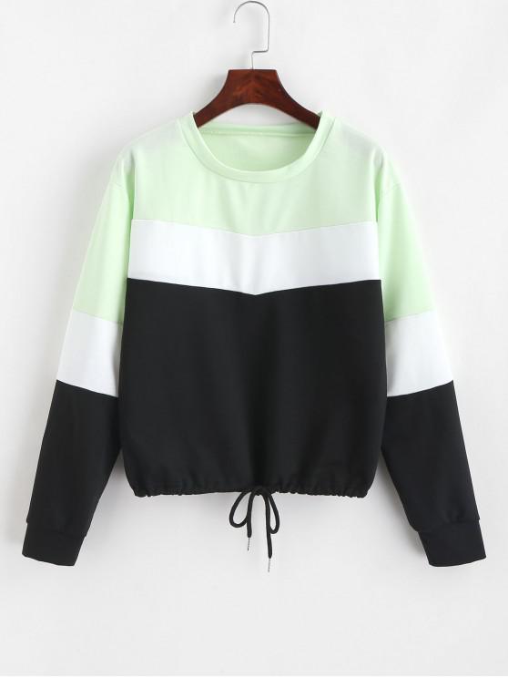 625585c752 27% OFF] [NEW] 2019 Pullover Drawstring Color Block Sweatshirt In ...