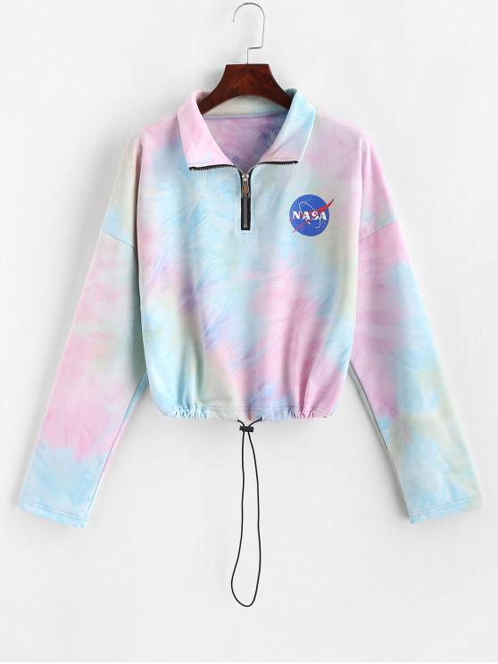 unique Half Zip Tie Dye Planet Graphic Sweatshirt - MULTI-A XL