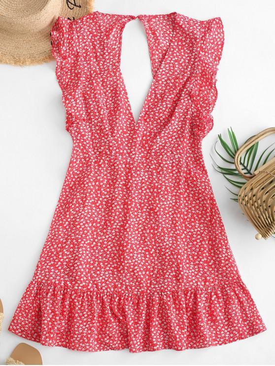 lady ZAFUL Floral Ruffle Armhole Cut Out Flounce Mini Dress - RED XL
