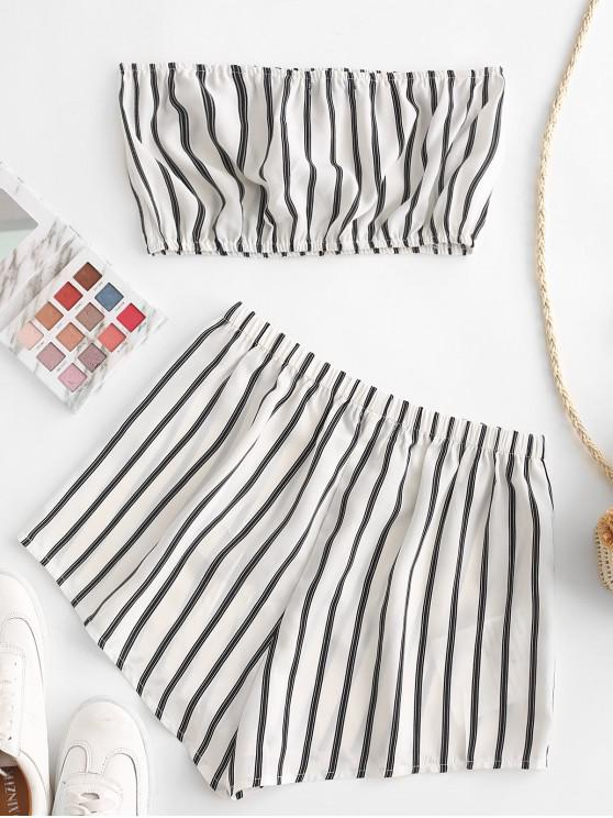 fashion ZAFUL Striped Strapless Loose Shorts Set - MILK WHITE L