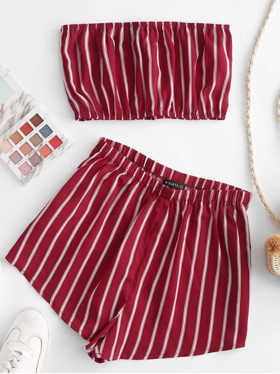 Conjunto de pantalones cortos sueltos sin tirantes a rayas ZAFUL - Rojo Cereza S