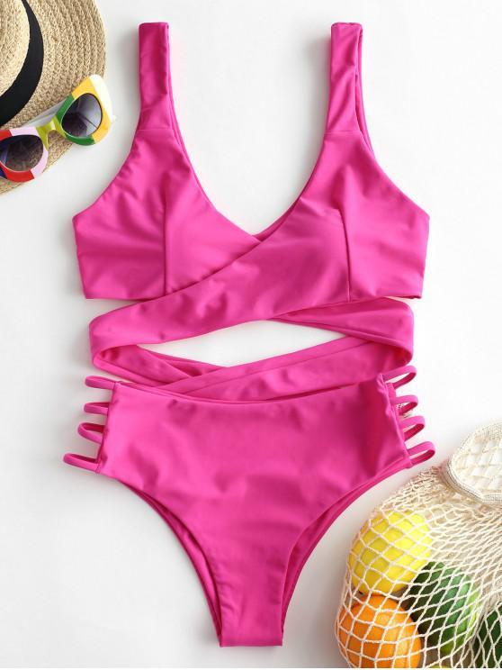 Bañador de bikini cruzado con recorte de escalera ZAFUL - Rosa Profundo M