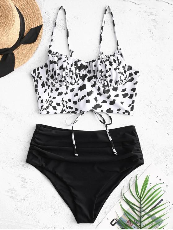 chic ZAFUL Leopard Lace-up Ruched Underwire Tankini Swimsuit - BLACK S
