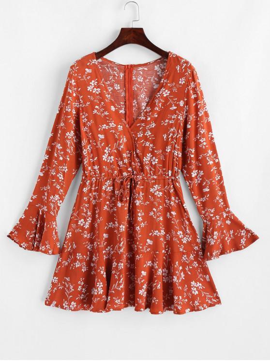 Mini vestido de sobrepelliz floral con manga acampanada - Naranja Papaya L