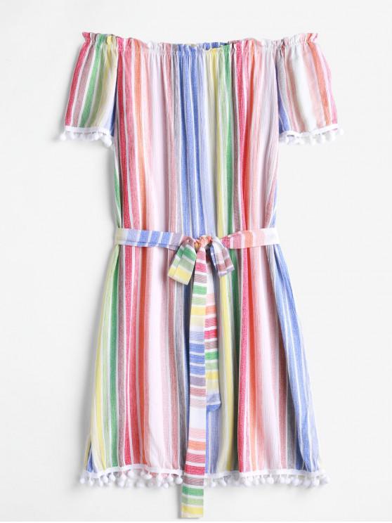Vestido con cinturón y hombros descubiertos a rayas de pompón - Multicolor-A S