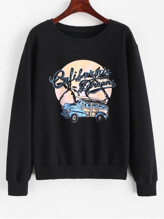 outfits Car Letter Graphic Crew Neck Sweatshirt - BLACK M