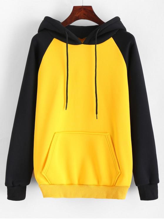 shop Kangaroo Pocket Two Tone Drawstring Hoodie - YELLOW XL