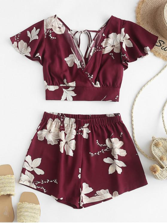 shop ZAFUL Flower Plunging Flutter Sleeve Shorts Set - RED WINE S