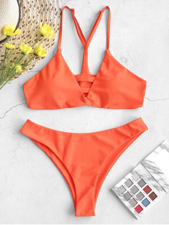 sale ZAFUL Neon High Cut Ladder Cutout Y-line Bikini Swimsuit - MANGO ORANGE S