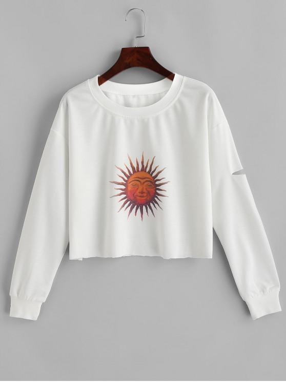 shop ZAFUL Sun Print Ripped Cropped Sweatshirt - WHITE S