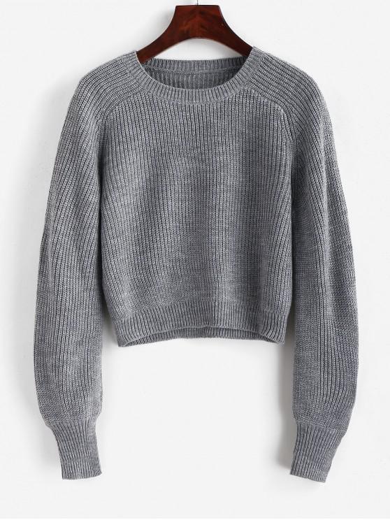 online Raglan Sleeve Crew Neck Pullover Sweater - GRAY M