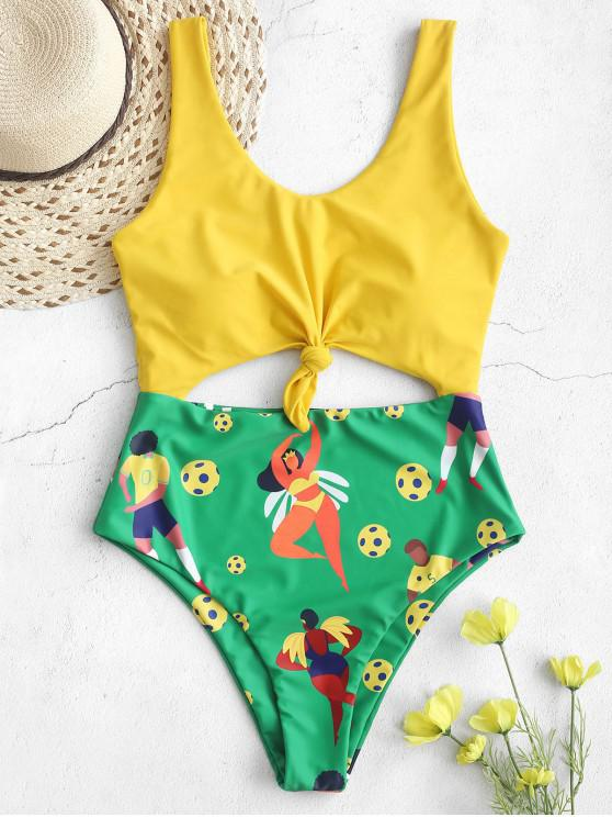 trendy ZAFUL Brazilian Flag Knotted One-piece High Cut Swimsuit - MULTI-A M